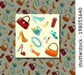 bright female accessories... | Shutterstock .eps vector #198055640