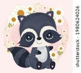 adorable little raccoon in...   Shutterstock .eps vector #1980624026