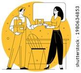 young woman receiving cardboard ...   Shutterstock .eps vector #1980634853