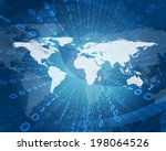 glowing figures and world map.... | Shutterstock . vector #198064526