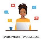 african woman in headphones... | Shutterstock .eps vector #1980660653