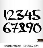 calligraphic watercolor numbers | Shutterstock .eps vector #198067424