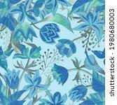 fantasy florals. abstract... | Shutterstock . vector #1980680003