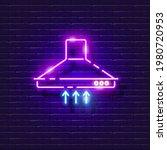 kitchen hood neon sign. vector...   Shutterstock .eps vector #1980720953