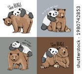 grizzly bear and panda hugs.... | Shutterstock .eps vector #1980742853