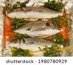 fresh raw sea bass and sea...