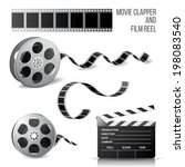 movie clapper and film reel... | Shutterstock .eps vector #198083540