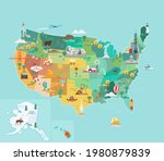 usa tourist map with famous... | Shutterstock .eps vector #1980879839
