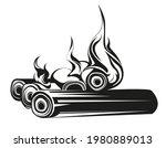 burning wood logs. bonfire in...   Shutterstock .eps vector #1980889013