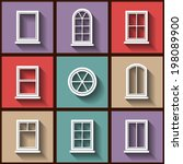 set of 9 flat icons of... | Shutterstock .eps vector #198089900