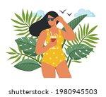 beautiful woman wearing a...   Shutterstock .eps vector #1980945503