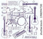 hand drawn doodle musical... | Shutterstock .eps vector #198094730