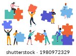 people building creative puzzle ...   Shutterstock .eps vector #1980972329