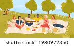young people students on picnic ... | Shutterstock .eps vector #1980972350