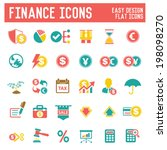 Finance icon set on white background,vector