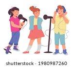 children trio singing together. ... | Shutterstock .eps vector #1980987260