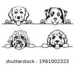 Set Of Peeking Dogs Of The...