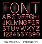 font neon alphabet numbers in vector format