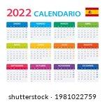 2022 calendar spanish   vector... | Shutterstock .eps vector #1981022759