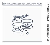 japanese tea cups line icon.... | Shutterstock .eps vector #1981048529
