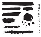 set of black raster grunge ink... | Shutterstock . vector #198105464
