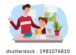 young father is helping his...   Shutterstock .eps vector #1981076810