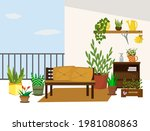 a sofa on the balcony and a... | Shutterstock .eps vector #1981080863