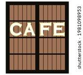 closed cafe door shutters...   Shutterstock .eps vector #1981098953