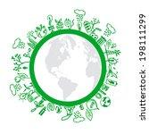eco symbols in green world | Shutterstock .eps vector #198111299