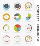 set of info graphic pie charts | Shutterstock .eps vector #198118106