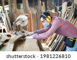Young Caucasian Male Carpenter...