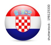 flag of croatia as round glossy ...