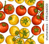 tomato sketch pattern. tomatoes ... | Shutterstock .eps vector #1981266020