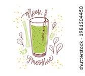 glass of fresh green smoothie...   Shutterstock .eps vector #1981304450