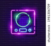 kitchen scales neon sign....   Shutterstock .eps vector #1981306709