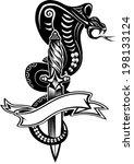 snake tattoo cobra and dagger | Shutterstock .eps vector #198133124