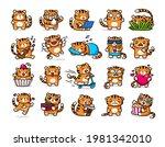 cute tiger emoji set. flat...   Shutterstock .eps vector #1981342010