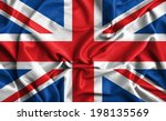 closeup of ruffled british flag  | Shutterstock . vector #198135569