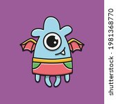 cute monster cartoon doodle... | Shutterstock .eps vector #1981368770