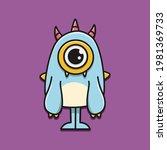cute monster cartoon doodle... | Shutterstock .eps vector #1981369733
