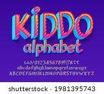 kiddo alphabet font. 3d bright... | Shutterstock .eps vector #1981395743