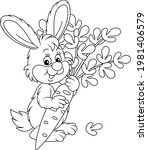 happy little bunny with a ripe...   Shutterstock .eps vector #1981406579