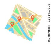 abstract city folded map with...
