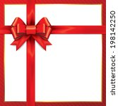red gift bows with ribbons.... | Shutterstock .eps vector #198142250
