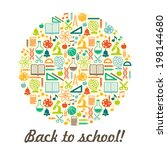 school children background with ... | Shutterstock . vector #198144680