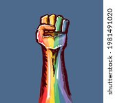 rised lgbt fist colored in lgbt ...   Shutterstock .eps vector #1981491020