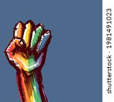 rised lgbt fist colored in lgbt ...   Shutterstock .eps vector #1981491023