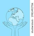 female hands hold the globe.... | Shutterstock .eps vector #1981492706