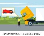 a driver calls a tow truck near ...   Shutterstock .eps vector #1981631489
