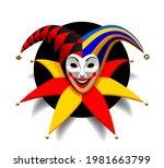smiling joker head with cap and ... | Shutterstock . vector #1981663799